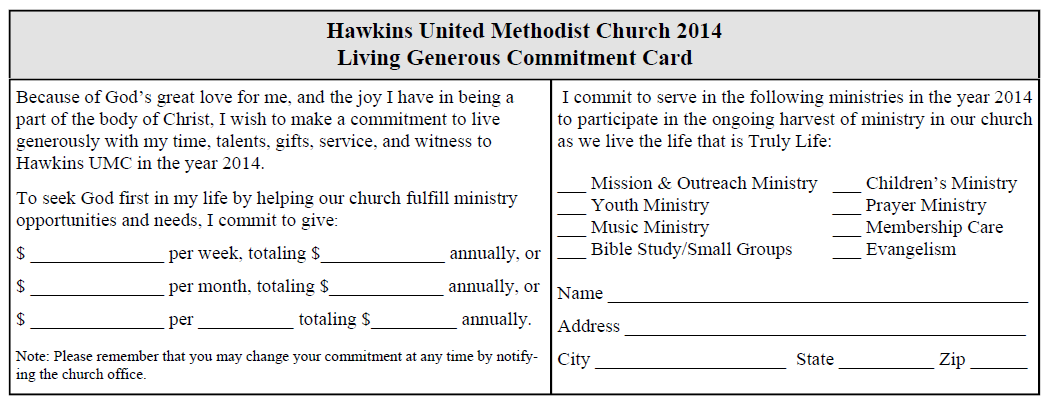 2014 HUMC Pledge Card